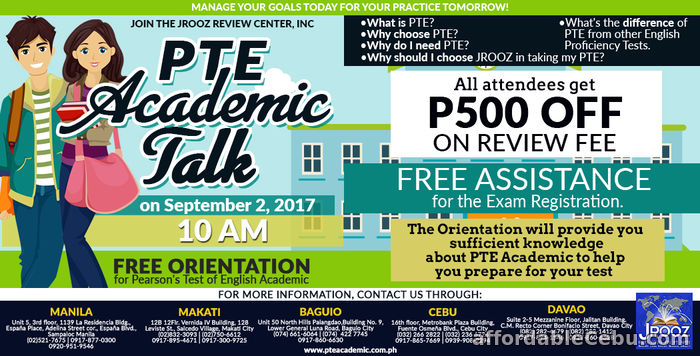 1st picture of JROOZ PTE Academic Talk – September 2, 2017 Offer in Cebu, Philippines
