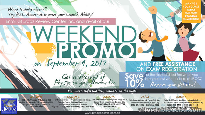1st picture of PTE Academic Weekend Promo – September 9, 2017 Offer in Cebu, Philippines