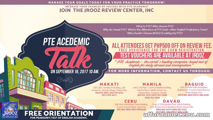 1st picture of JROOZ PTE Academic Talk – September 16, 2017 Offer in Cebu, Philippines