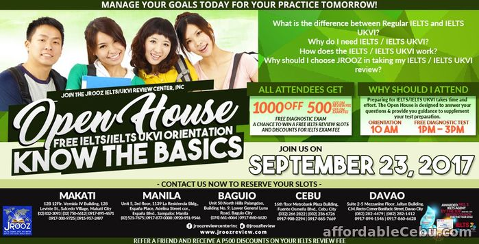 1st picture of JROOZ IELTS / IELTS UKVI OPEN HOUSE – September 23, 2017 Offer in Cebu, Philippines