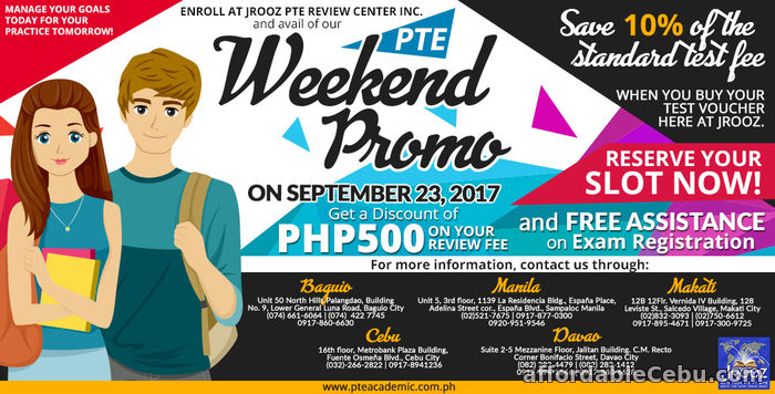 1st picture of PTE Academic Weekend Promo – September 23, 2017 Offer in Cebu, Philippines