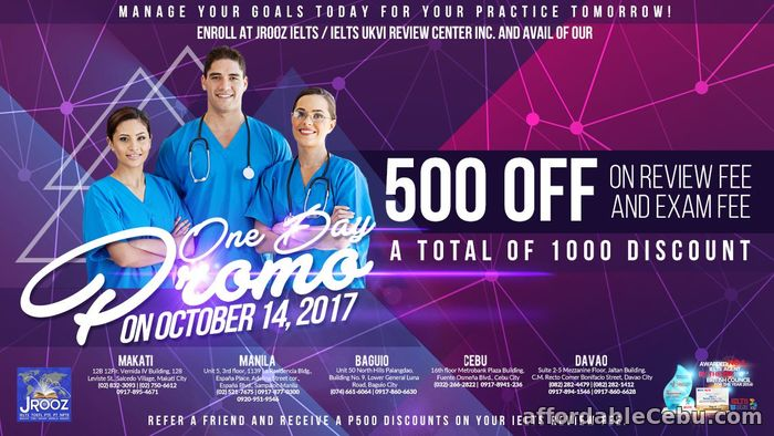 1st picture of JROOZ IELTS One Day Promo – October 14, 2017 Offer in Cebu, Philippines