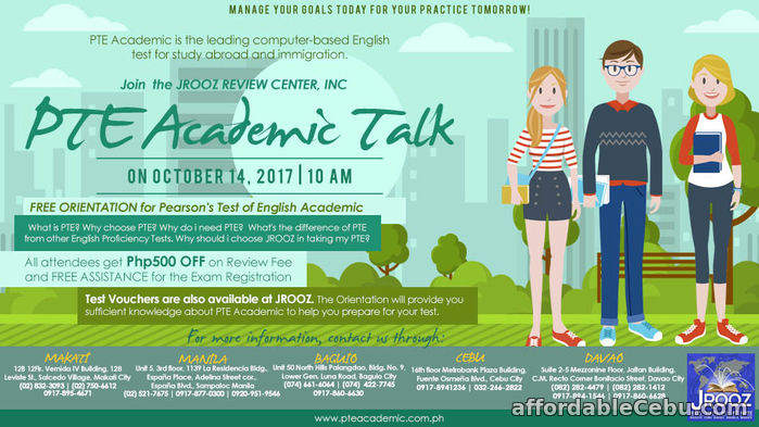 1st picture of JROOZ PTE Academic Talk – October 14, 2017 Offer in Cebu, Philippines