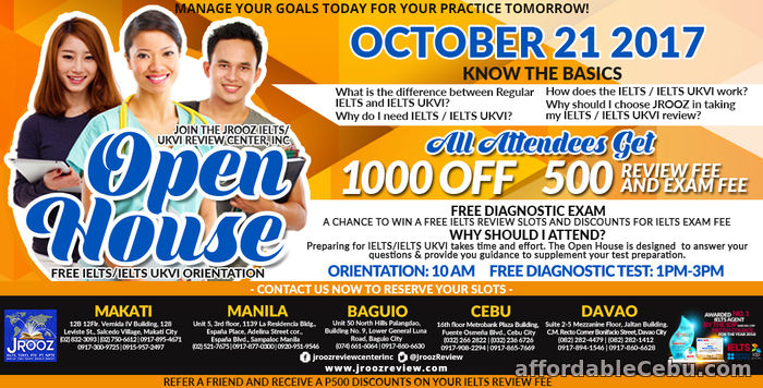 1st picture of JROOZ IELTS / IELTS UKVI Open House – October 21, 2017 Offer in Cebu, Philippines