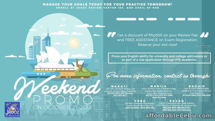 1st picture of PTE ACADEMIC WEEKEND PROMO - October 21, 2017 Offer in Cebu, Philippines