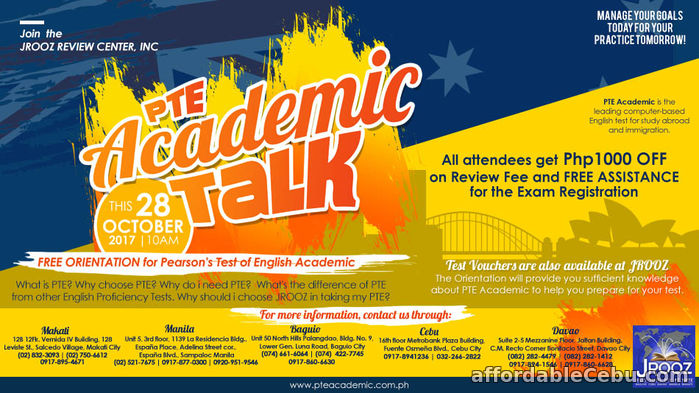 1st picture of JROOZ PTE Academic Talk – October 28, 2017 Offer in Cebu, Philippines