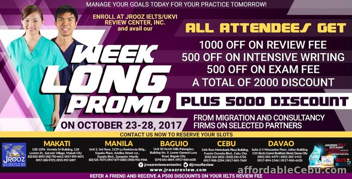 1st picture of JROOZ IELTS Week Long Promo October 23-28, 2017 Offer in Cebu, Philippines
