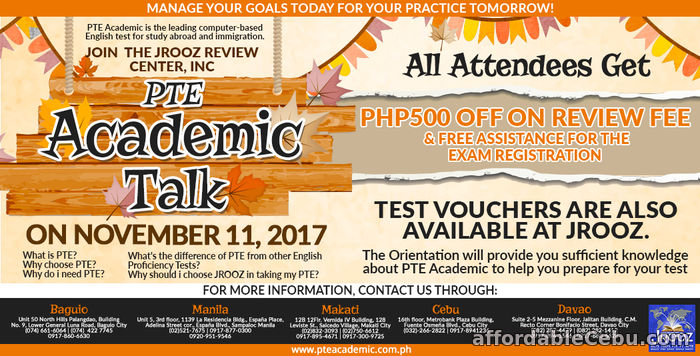 1st picture of JROOZ PTE Academic Talk – November 11, 2017 Offer in Cebu, Philippines