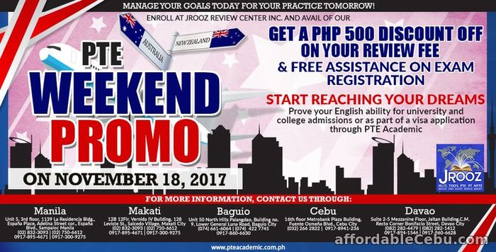 1st picture of PTE ACADEMIC WEEKEND PROMO – November 18, 2017 Offer in Cebu, Philippines