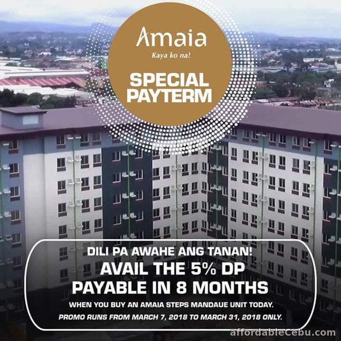 1st picture of PROMO: 5% down payment MOVE IN so hurry.... live elegantly and peacefully in Amaia Steps Mandaue For Sale in Cebu, Philippines