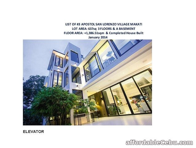 1st picture of FOR SALE: APOSTOL SAN LORENZO VILLAGE MAKATI For Sale in Cebu, Philippines