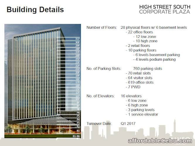 4th picture of For Sale: Brand new office space at High Street South Corporate Plaza Tower 1 For Sale in Cebu, Philippines