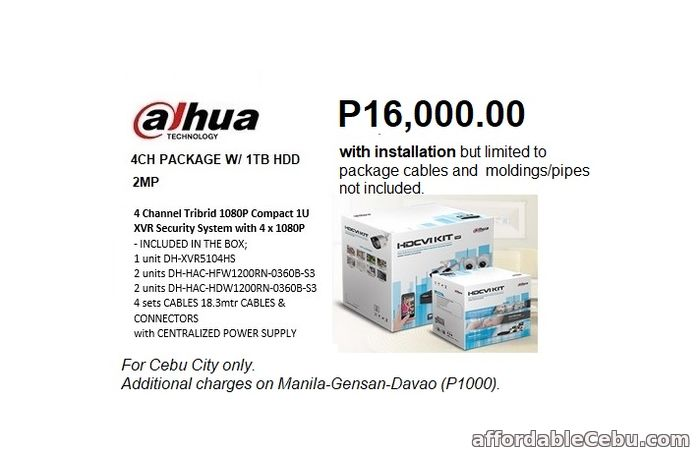 1st picture of 4 CH 2MP DAHUA CCTV INSTALLATION Offer in Cebu, Philippines