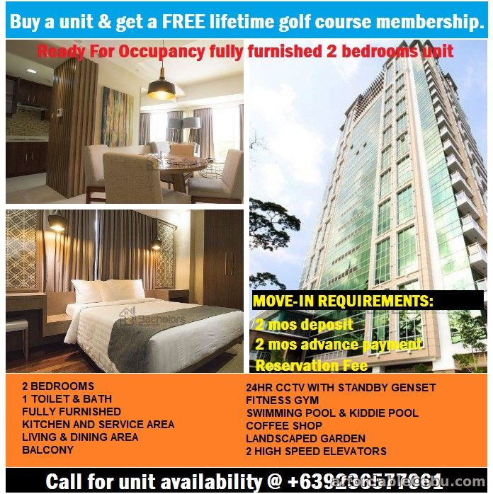 1st picture of Own a 2 bedroom fully furnished Condo & get a FREE golf course membership. For Sale in Cebu, Philippines