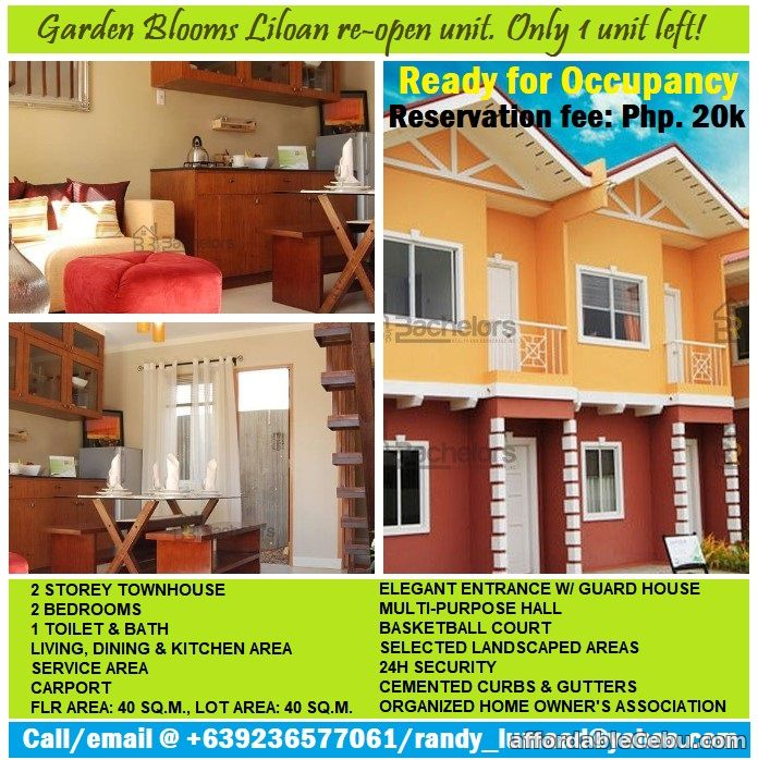 1st picture of Re-open & ready for occupancy Cattleya unit at Garden Blooms sub Liloan For Sale in Cebu, Philippines
