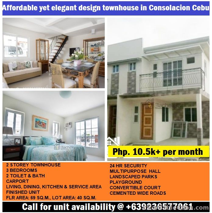 1st picture of 3 Bedrooms, 2 CR, finished unit Townhouse near Fooda Consolacion. For Sale in Cebu, Philippines