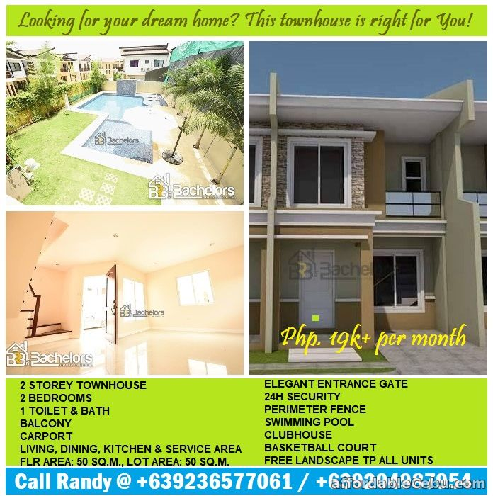 1st picture of Townhouse for sale w/ swimming pool & children's playground amenities For Sale in Cebu, Philippines