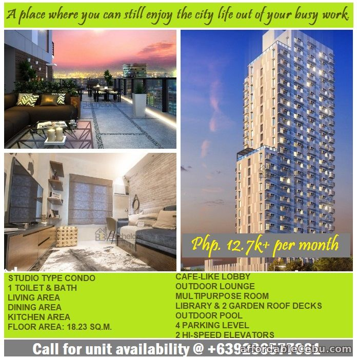 1st picture of Studio Condo in Cebu for only Php.11k per month For Sale in Cebu, Philippines
