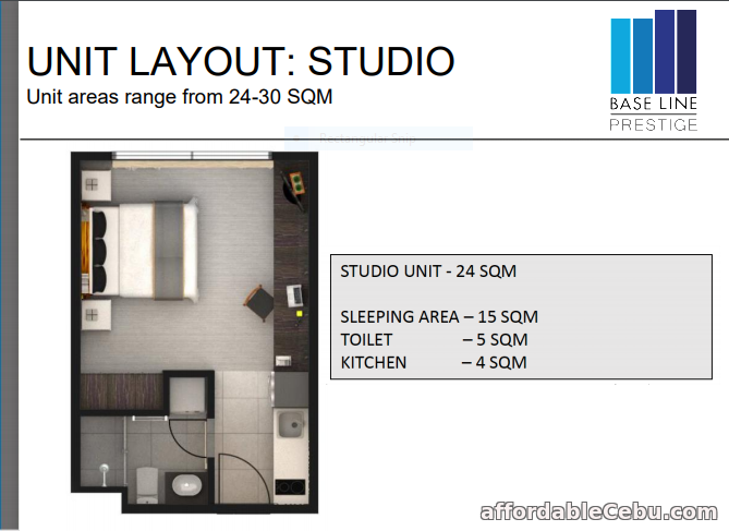 3rd picture of BASELINE PRESTIGE  - STUDIO UNIT FOR SALE For Sale in Cebu, Philippines
