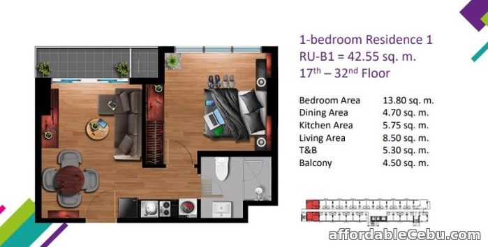 1st picture of 1 BR condo unit with 42.55 sq m Floor area at Vertex Central For Sale in Cebu, Philippines