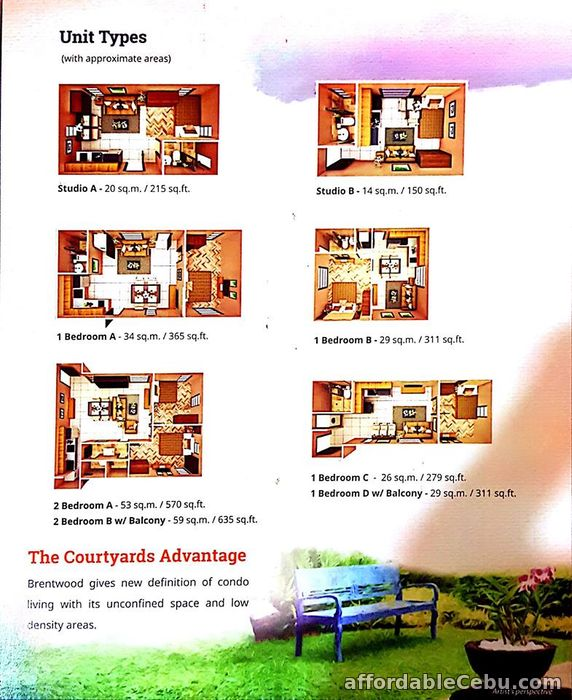 3rd picture of STUDIO UNIT-B IN BRENTWOOD (Courtyards) For Sale in Cebu, Philippines