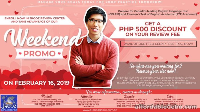 1st picture of JROOZ CELPIP & PTE Academic Weekend Promo – February 16, 2019 Offer in Cebu, Philippines