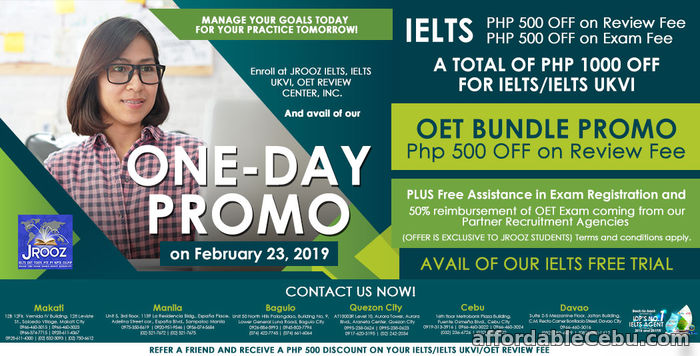 1st picture of JROOZ IELTS, IELTS UKVI, OET One-day Promo on February 23, 2019 Offer in Cebu, Philippines