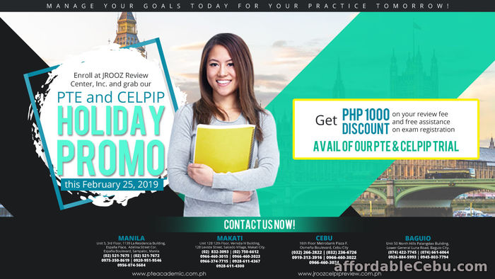 1st picture of JROOZ PTE & CELPIP Holiday Promo on February 25, 2019 Offer in Cebu, Philippines