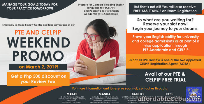 1st picture of JROOZ PTE And CELPIP Weekend Promo on March 2, 2019 Offer in Cebu, Philippines
