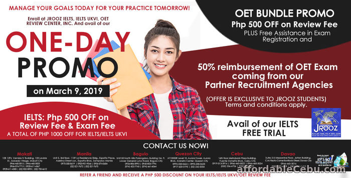 1st picture of JROOZ IELTS, IELTS UKVI, OET One-Day Promo on March 9, 2019 Offer in Cebu, Philippines