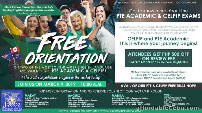 1st picture of JROOZ PTE & CELPIP Free Orientation – March 9, 2019 | 10:00 AM Offer in Cebu, Philippines