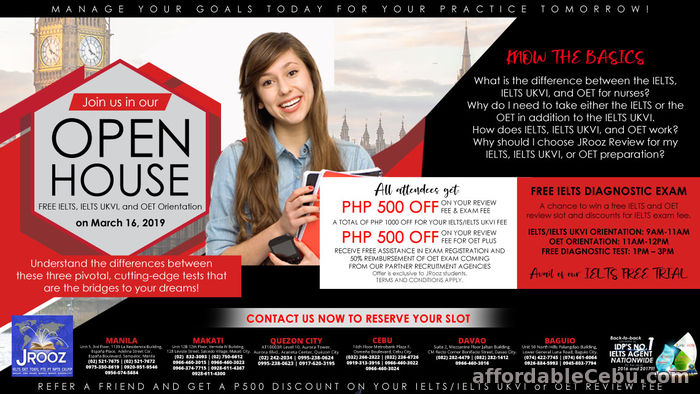 1st picture of JROOZ IELTS, IELTS UKVI and OET Open House – March 16, 2019 Offer in Cebu, Philippines