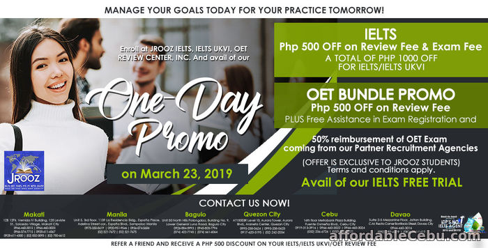 1st picture of JROOZ IELTS & OET One-Day Promo on March 23, 2019 Offer in Cebu, Philippines