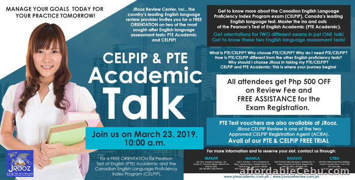 1st picture of CELPIP & PTE Academic Talk – March 23, 2019 Offer in Cebu, Philippines