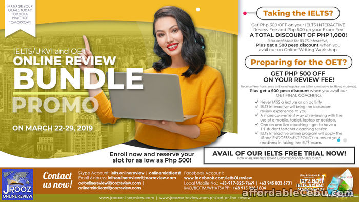 1st picture of JROOZ IELTS & OET Online Bundle PROMO on March 22-29, 2019 Offer in Cebu, Philippines