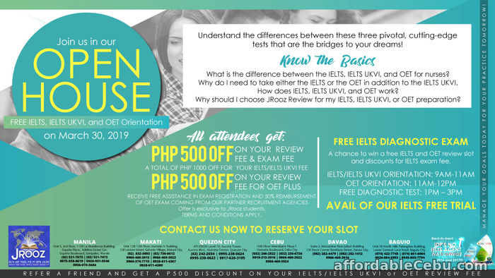 1st picture of JROOZ IELTS, IELTS UKVI and OET Open House – March 30, 2019 Announcement in Cebu, Philippines