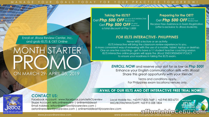 1st picture of JROOZ IELTS & OET ONLINE MONTH STARTER PROMO March 29 – April 05, 2019 Offer in Cebu, Philippines