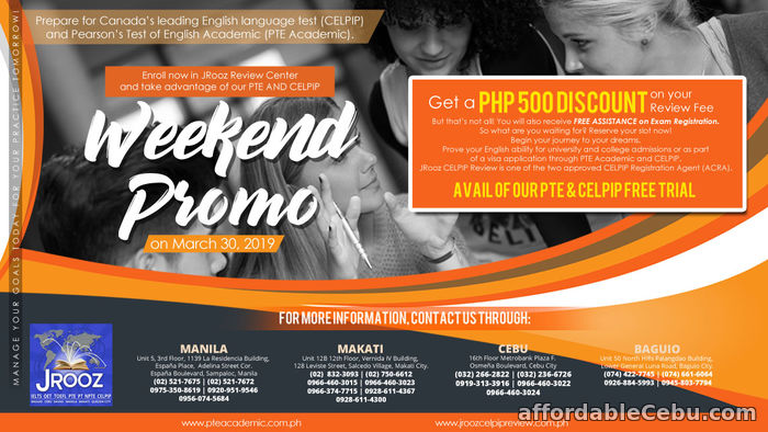 1st picture of JROOZ CELPIP & PTE Academic Weekend Promo – March 30, 2019 Offer in Cebu, Philippines
