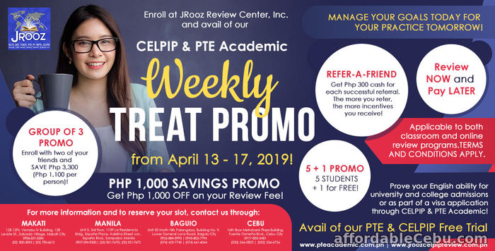 1st picture of JROOZ PTE AND CELPIP ACADEMIC WEEKLY TREAT PROMO – April 13 to 17, 2019 Offer in Cebu, Philippines