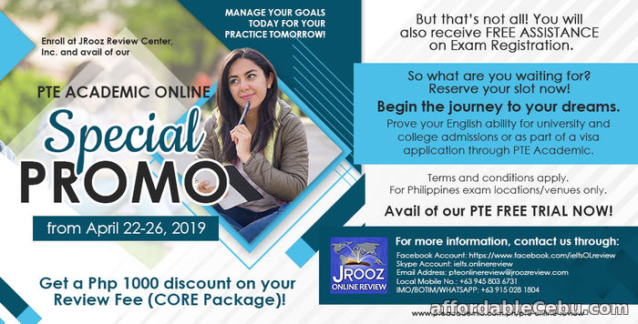 1st picture of PTE ACADEMIC ONLINE SPECIAL PROMO from April 22 to 26, 2019 Offer in Cebu, Philippines