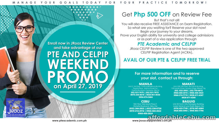1st picture of CELPIP & PTE ACADEMIC WEEKEND PROMO April 27, 2019 Offer in Cebu, Philippines