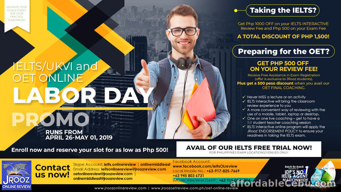 1st picture of JROOZ IELTS/UKVI and OET ONLINE REVIEW LABOR DAY PROMO from April 26 – May 01, 2019 Offer in Cebu, Philippines