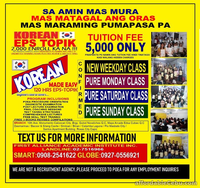 1st picture of Korean Language Announcement in Cebu, Philippines