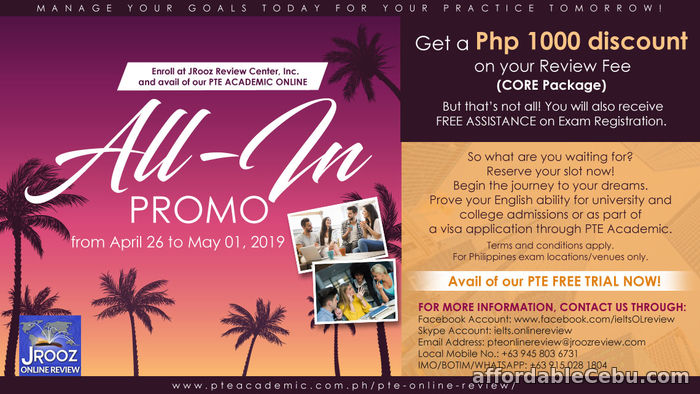 1st picture of JROOZ PTE Academic Online ALL IN PROMO! APRIL 26-MAY 01, 2019 Offer in Cebu, Philippines