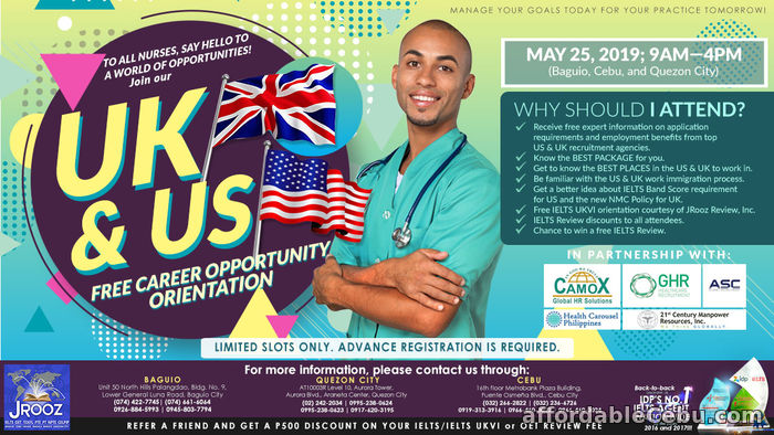 1st picture of JROOZ Nurses for UK & US Career Orientation – May 25, 2019 Offer in Cebu, Philippines