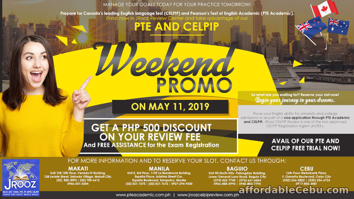 1st picture of JROOZ CELPIP & PTE ACADEMIC WEEKEND PROMO May 11, 2019 Offer in Cebu, Philippines