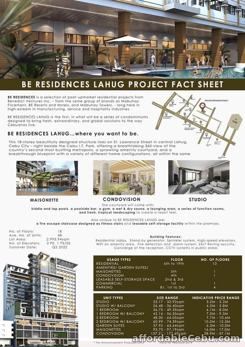 5th picture of 3 Storey Condo at BE Residences Lahug Cebu City For Sale in Cebu, Philippines