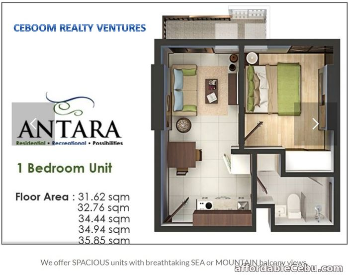 2nd picture of Sea View 1 Bedroom in Lawaan - Antara Condo For Sale in Cebu, Philippines