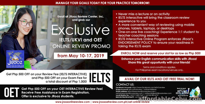 1st picture of JROOZ Exclusive IELTS/UKVI and OET Online Review Promo from May 10-17, 2019 Offer in Cebu, Philippines