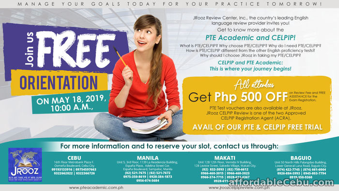 1st picture of JROOZ CELPIP & PTE Academic TALK May 18, 2019 Offer in Cebu, Philippines